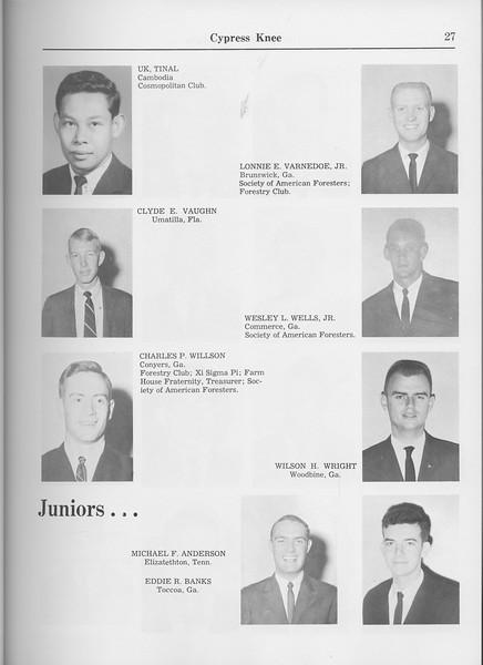 The Cypress Knee, 1965, Seniors, Uk Tinal, Lonnie E. Varnedoe, Clyde E. Baughn, Wesley L. Wells, Charles P. Wilson, Wilson H. Wright, Juniors, Michael F. Anderson, Eddie R. Banks, pg. 27