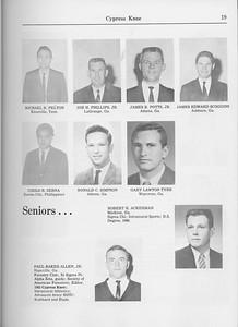 The Cypress Knee, 1965, Graduate Students, Micheal R. Pelton, Joe H. Phillips Jr., James B. Potts Jr., James Edward Scoggins, Cirilo B. Serna, Ronad C. Simpson, Gary Lawton Tyre, Seniors, Robert H. Ackerman, Paul Baker Allen, pg. 19
