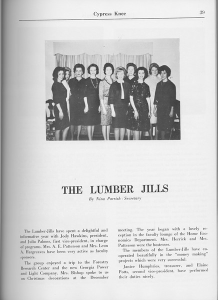 "The Cypress Knee, 1965, ""The Lumber Jills"", Nina Parrish, pg. 39"