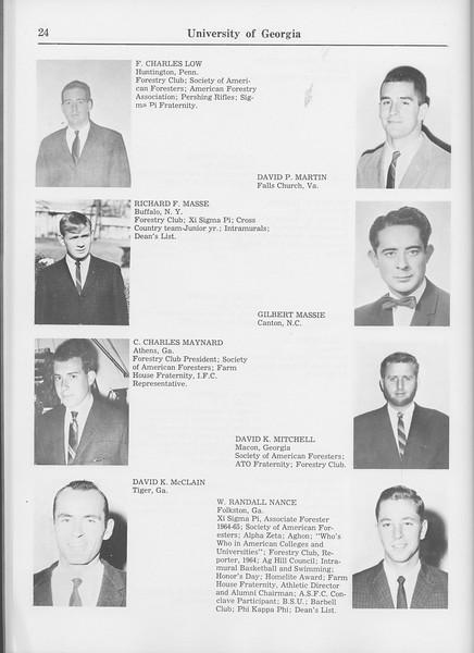The Cypress Knee, 1965, Seniors, F. Charles Low, David P. Martin, Richard F. Masse, Gilbert Massie, C. Carles Maynard, David K. Mitchell, David K. McClain, W. Randall Nance, pg. 24