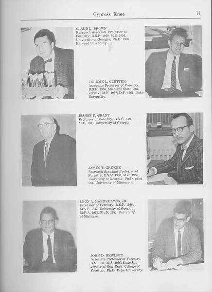 The Cypress Knee, 1965, Faculty and Research Staff, Claud L. Brown, Jerome L. Clutter, Bishop F. Grant, James T. Greene, Leon A. Hargreaves, John D. Hewlett, pg. 11