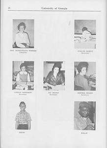 The Cypress Knee, 1965, Faculty and Research Staff, Marguerite Powers, Evelyn Dowdy, Carole Harrison, Jac Moore, Brenda Heard, Irene, Willie, pg. 16
