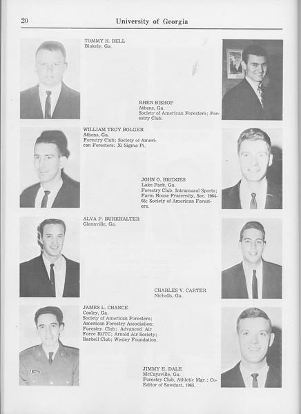 The Cypress Knee, 1965, Seniors, Tommy H. Bell, Rhen Bishop, William Troy Bolger, John O. Bridges, Alva P. Burkhalter, Charles V. Carter, James L. Chance, Jimmy E. Dale, pg. 20
