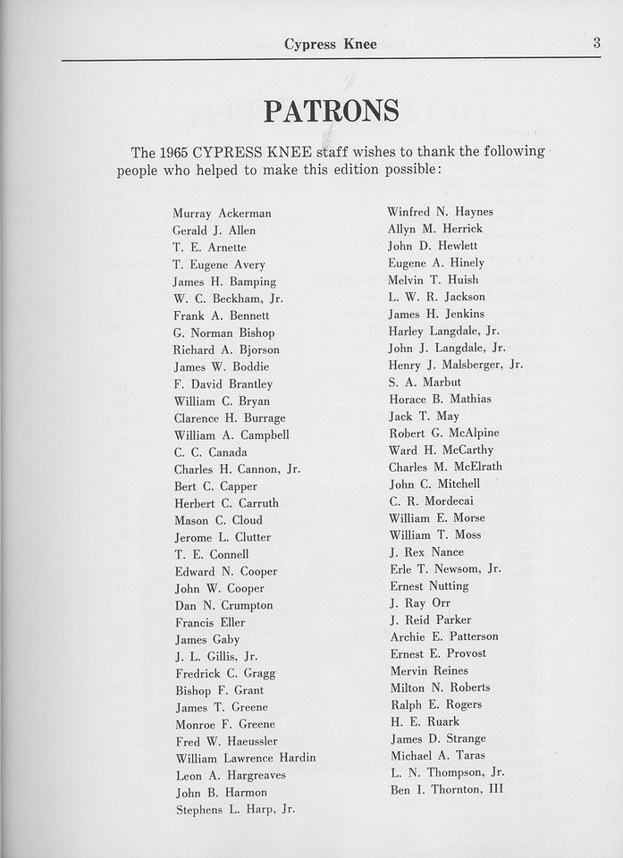 The Cypress Knee, 1965, Patron's Page, pg. 3