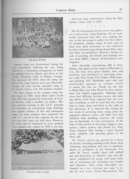 "The Cypress Knee, 1965, ""Summer Camp 1909-1964"" (continued), pg. 41"