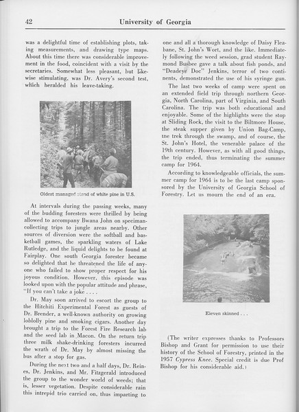 "The Cypress Knee, 1965, ""Summer Camp 1909-1964"" (continued), pg. 42"