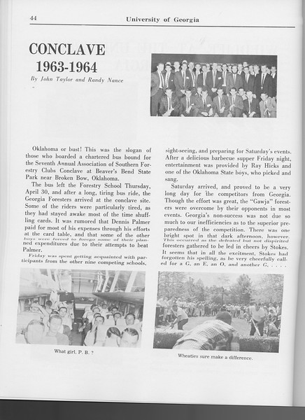 "The Cypress Knee, 1965, ""Conclave 1963-1964"", John Taylor, Randy Nance, pg. 44"