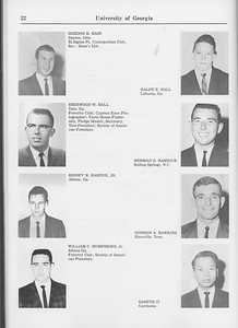 The Cypress Knee, 1965, Seniors, Gordon R. Hain, Ralph E. Hall, Sherwood W. Hall, Herman O. Hamrick, Sidney W. Harper, Gordon A. Hawkins, William C. Humphries, Sareth It, pg. 22