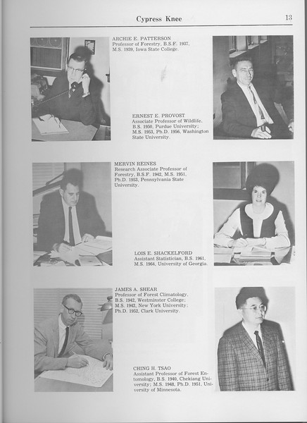 The Cypress Knee, 1965, Faculty and Research Staff, Archie E. Patterson, Ernest E. Provost, Mervin Reines, Lois E. Shackelford, James A. Shear, Ching H. Tsao, pg. 13