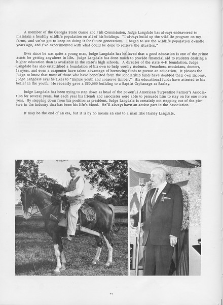 """The Cypress Knee, 1966, """"A Tribute to Judge Harley Langdale"""" (continued), pg. 44"""