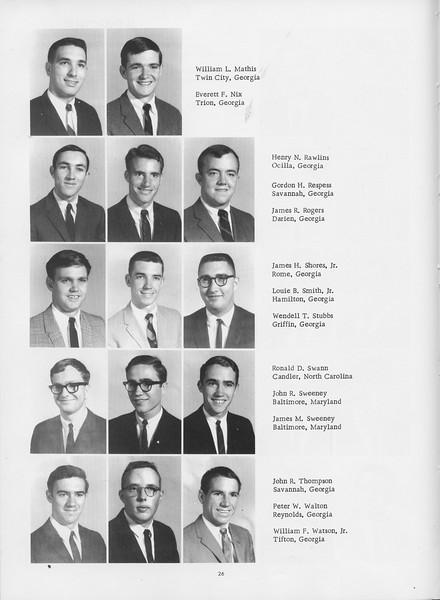 The Cypress Knee, 1966, Juniors, William L. MAthis, Everett F. Nix, Henry N. Rawlins, Gordon H. Respess, James R. Rogers, James H. Shores Jr., Louie B. Smith Jr., Wendell T. Stubbs, Ronald D. Swann, John R. Sweeney, James M. Sweeney, John R. Thompson, Peter W. Walton, William F. Watson Jr., pg. 26