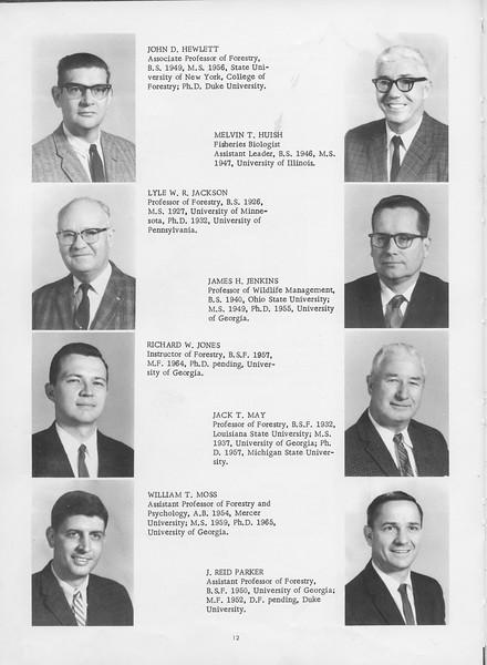 The Cypress Knee, 1966, Faculty and Research Staff, John D. Hewlett, Melvin T. Huish, Lyle W. R. Jackson, James H. Jenkins, Richard W. Jones, Jack T. May, William T. Moss, J. Reid Parker, pg. 12
