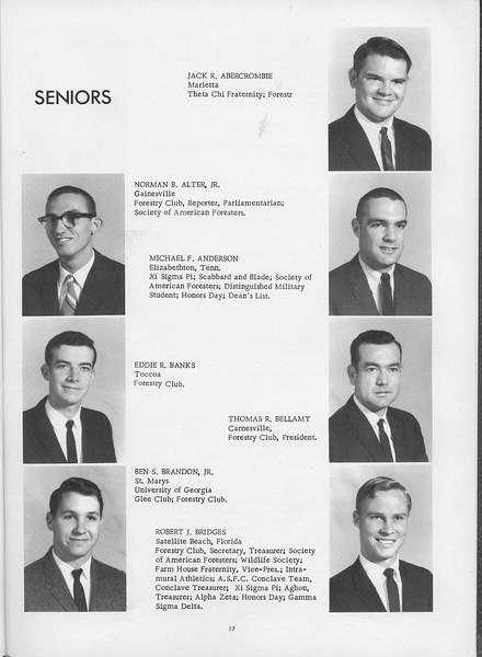 The Cypress Knee, 1966, Seniors, Jack R. Abercrombie, Norman B. Alter Jr., Michael F. Anderson, Eddie R. Banks, Thomas R. Bellamy, Ben S. Brandon Jr., Robert J. Bridges, pg. 17