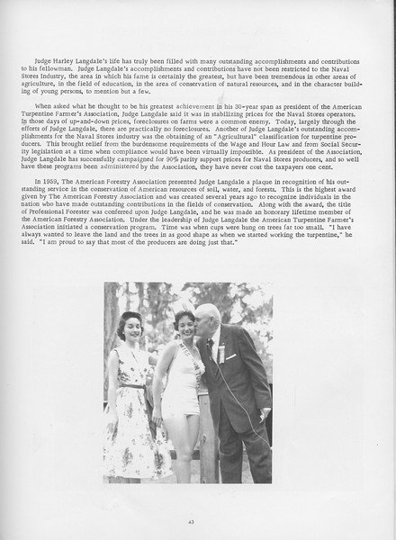 """The Cypress Knee, 1966, """"A Tribute to Judge Harley Landgae"""" (continued), pg. 43"""