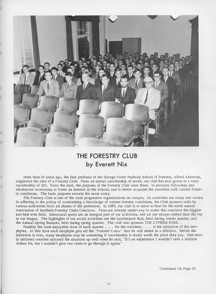 The Cypress Knee, 1966, The Forestry Club, Everett Nix, pg. 31