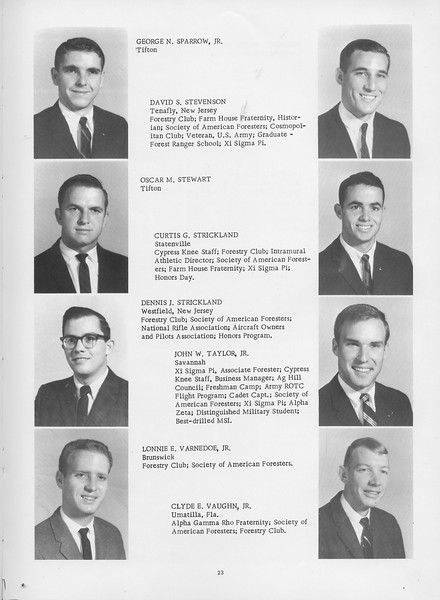 The Cypress Knee, 1966, Seniors, George N. Sparrow, Davud S. Stevenson, Oscar M. Stewart, Curtis G. Strickland, Dennis J. Strickland, John W. Taylor Jr., Lonnie E. Varnedoe Jr., Clyde E. Vaughn, pg. 23