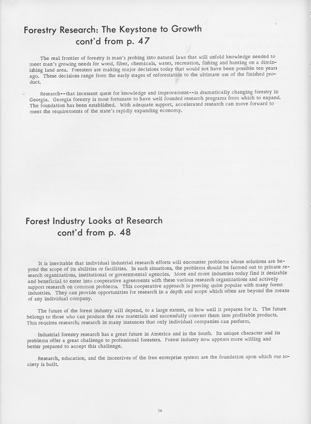 """The Cypress Knee, 1966, """"Forestry Research: the Keystone to Growth"""" (continued), """"Forest Industry Looks at Research"""" (continued), pg. 56"""