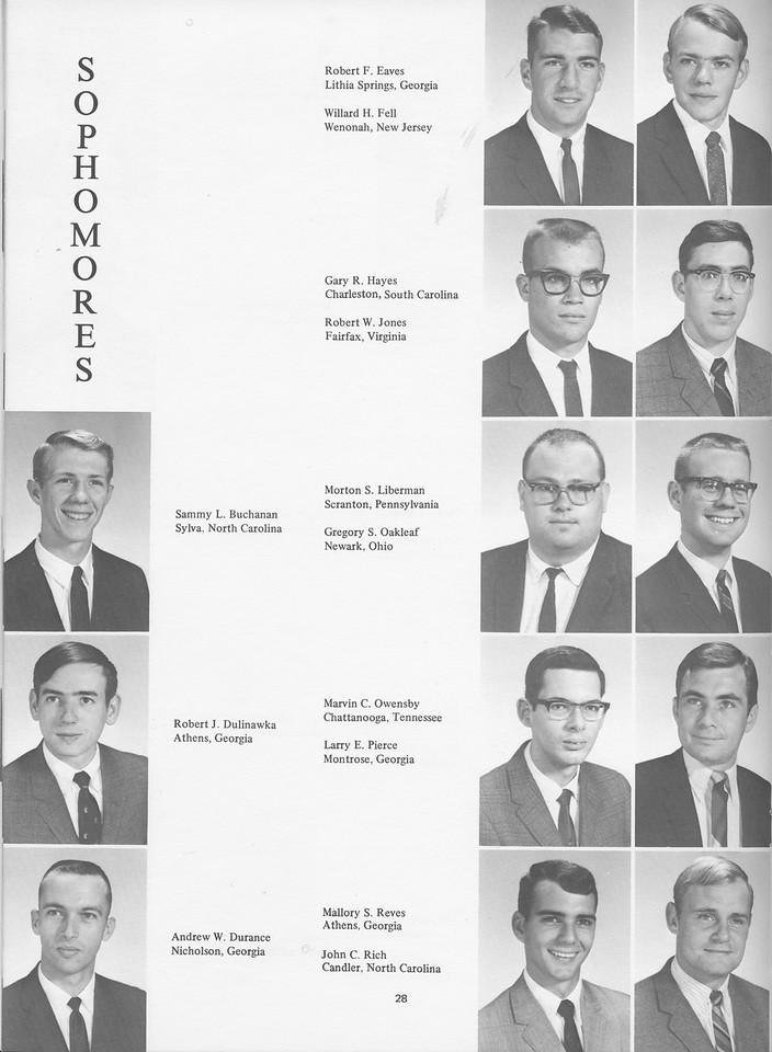 The Cypress Knee, 1968, Sophomores, Sammy L. Buchanan, Robert J. Dulinawka, Andrew W. Durance, Rovert F. Eaves, Willard H. Fell, Gary R. Hayes, Robert W. Jones, Morton S. Liberman, Gregory S. Oakleaf, Marvin C. Owensby, Larry E. Pierce, Mallory S. Reves, John C. Rich, pg. 28
