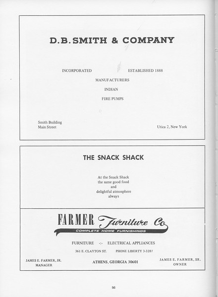 The Cypress Knee, 1968, D. B. Smith and Company, The Snack Shack, Famer Furniture Co., pg. 56