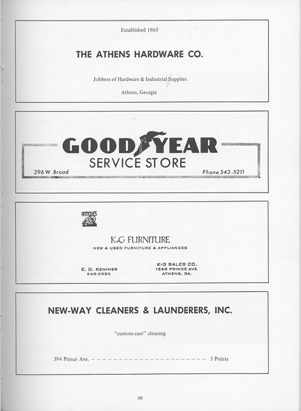 The Cypress Knee, 1968, The Athens Hardware Co., Good Year Service Store, K and G Furniture, New-Way Cleaners and Launderers, pg. 59