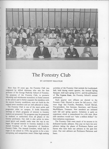 The Cypress Knee, 1968, Forestry Club, Anothony Malcolm, pg. 31