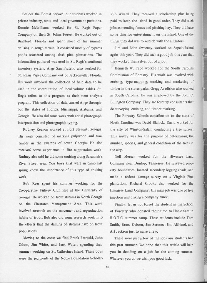 """The Cypress Knee, 1968, """"In the Heat of it All"""" (continued), pg. 40"""