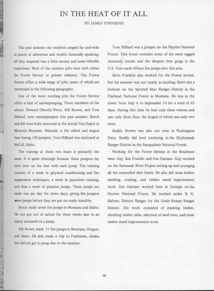 """The Cypress Knee, 1968, """"In the Heat of It All"""", James Townsend, pg. 39"""