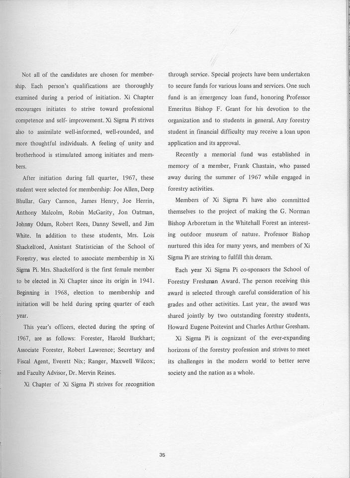 The Cypress Knee, 1968, Xi Sigma Pi, pg. 35