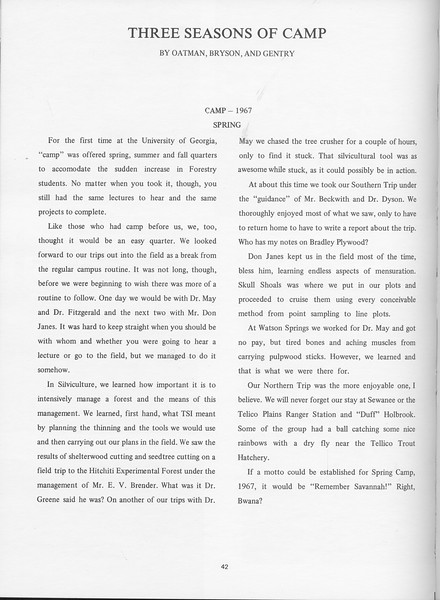 "The Cypress Knee, 1968, ""Three Seasons of Camp"", Oatman, Bryson, Gentry, pg. 42"