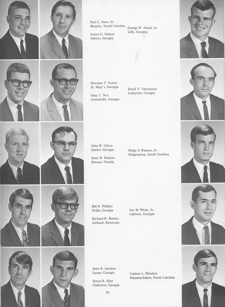 The Cypress Knee, 1968, Juniors, Paul L. Nave Jr., Lester G. Nelson, Dewaine T. Norris, Gary L. Nye, John W. Odum, Jerry W. Perkins, Bill R. Phillips, Richard R. Ramey, John R. Sanders, James R. Siler, Georga W. Steele Jr., David V. Thompson, Philip S. Watson, Jim M. White, Carlton L. Windsor, pg. 27