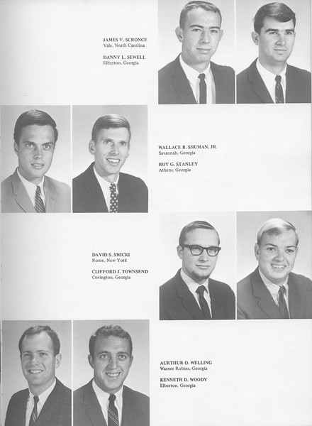 The Cypress Knee, 1968, Seniors, James V. Scronce, Danny L. Sewell, Wallace B. Shuman, Roy G. Stanley, David S. Swicki, Clifford J. Townsend, Aurthur O. Welling, Kenneth D. Woody, pg. 23