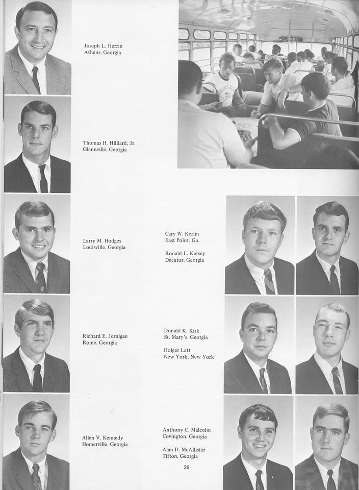 The Cypress Knee, 1968, Juniors, Joseph L. Herrin, Thomas H. Hilliard, Larry M. Hodges, Richard E. Jernigan, Allen V. Kennedy, Cary W. Kerlin, Ronald L. Kersey, Donald K. Kirk, Holger Latt, Anothony C. Malcolm, Alan D. McAllister, pg. 26