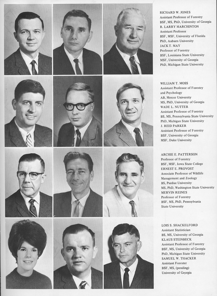 The Cypress Knee, 1970, Faculty and Staff, Richard W. Jones, R. Larry Marchington, Jack T. May, William T. Moss, Wade L. Nutter, J. Reid Parker, Archie E. Patterson, Ernest E. Provost, Mervin Reines, Lois S. Schackelford, Klaus Steinbeck, Samuel W. Thacker, pg. 11