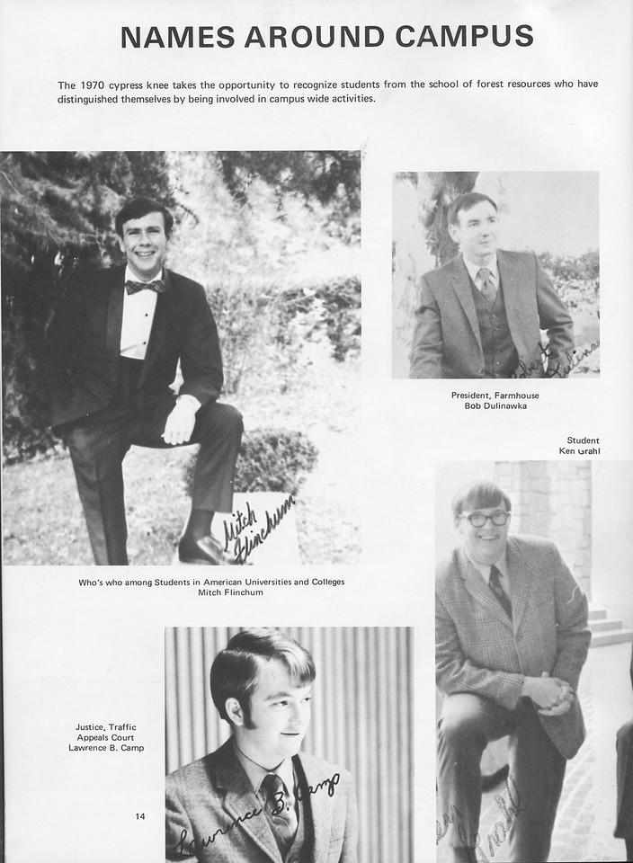 The Cypress Knee, 1970, Faculty and Staff, Mitch Flinchum, Bob Dulinawka, Lawrence B. Camp, pg. 14