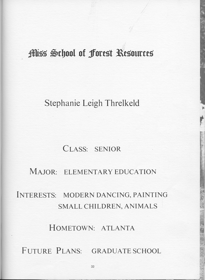 The Cypress Knee, 1971, Miss School of Forest Resources, Stephanie Leigh Threlkeld, pg. 33