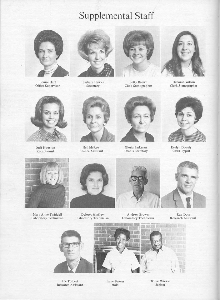 The Cypress Knee, 1971, Supplemental Staff, Louise Hart, Barbara Hawks, Betty Brown, Deborah Wilson, Duff Houston, Nell McRee, Gloria Parkman, Evelyn Dowdy, MAry Anne Twiddell, Delores Winfrey, Andrew Brown, Ray Doss, Lee Tolbert, Irene Brown, Willie Muckle, pg. 12