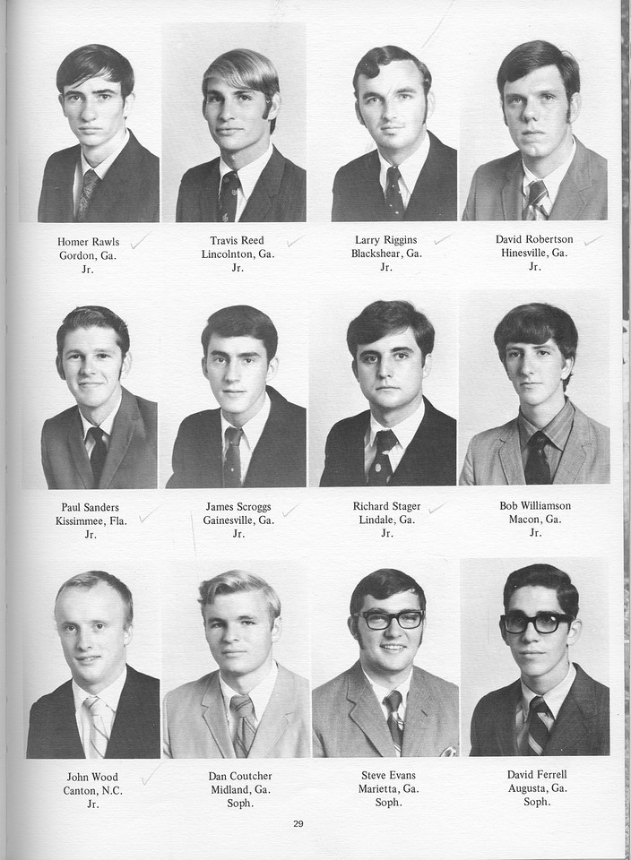 The Cypress Knee, 1971, Underclassmen, Homer Rawls, Travis Reed, Larry Riggins, David Robertson, Paul Sanders, James Scroggs, Richard Stager, Bob Williamson, John Wood, Dan Coutcher, Steve Evans, David Ferrell, pg. 29