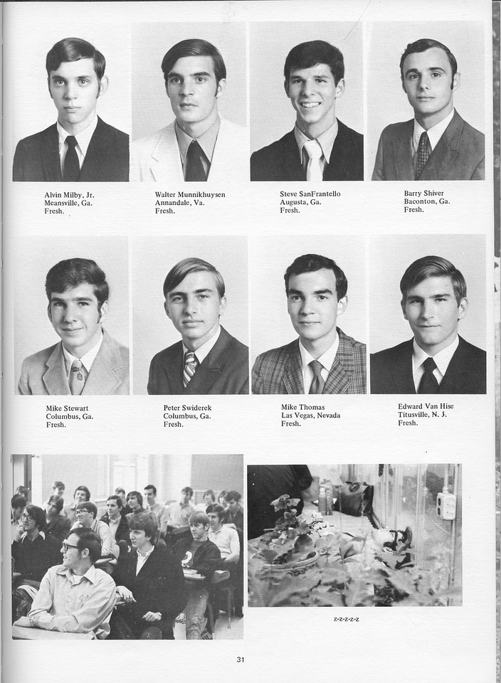 The Cypress Knee, 1971, Underclassmen, Alvin Milby Jr., Walter Munnikhuysen, Steve SanFrantello, Barry Shiver, Mike Stewart, Peter Swiderek, Mike Thomas, Edward Van Hise, pg. 31