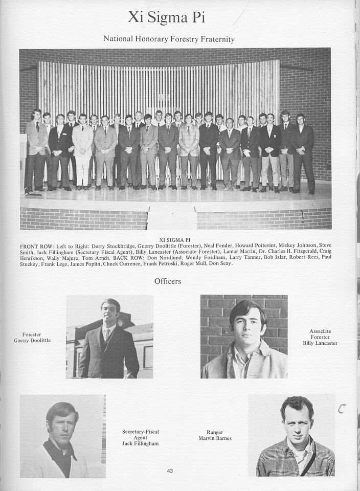 The Cypress Knee, 1971, Xi Sigma Pi, Guerry Doolittle, Billy Lancaster, Jack Fillingham, Marvin Barnes, pg. 43