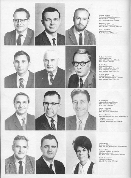 The Cypress Knee, 1971, Forestry Faculty, James H. Jenkins, Richard W. Jones, John L. Lambert, R. Larry Marchinton, Jack T. May, Wade L. Nutter, J. Reid Parker, Archie E. Patterson, Ernest E. Provost, Mervin Reines, James T. Rice, Lou S. Shackleford, pg. 10