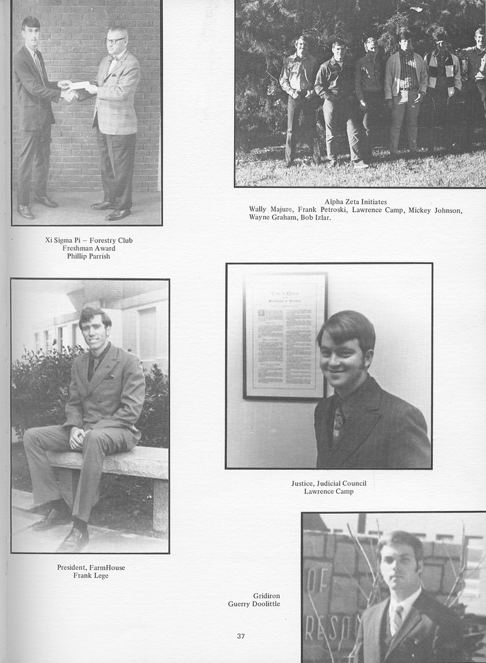 The Cypress Knee, 1971, Phillip Parrish (Freshman Award), Wally Majure, Frank Petroski, Lawrence Camp, Mickey Johnson, Wayne Graham, Bob Izlar, (Alpha Zeta Initiates), Frank Lege, Larwence Camp, Guerry Doolittle, pg. 37