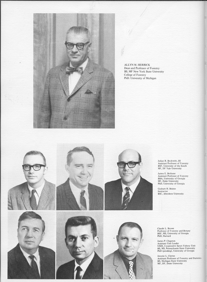 The Cypress Knee, 1971, Forestry Faculty, Alvin M. Herrick, Julian R. Beckwith, James E. Bethune, Graham H. Brister, Claude L. Brown, James P. Clugston, Jerome L. Clutter, pg. 8