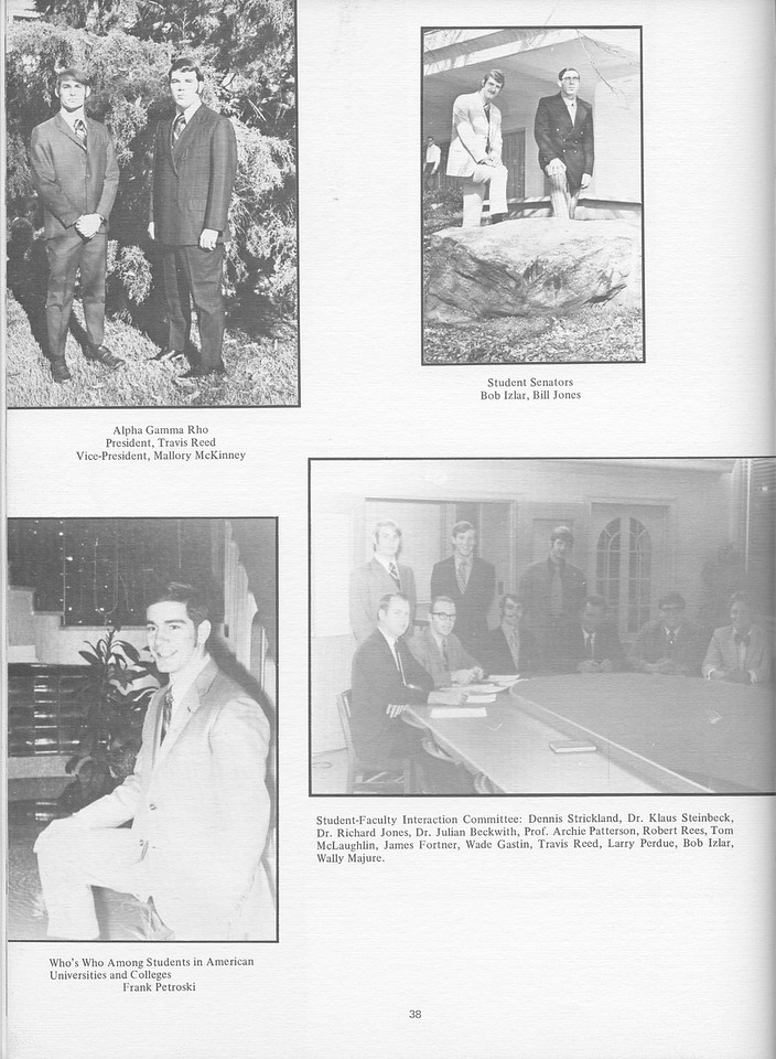 The Cypress Knee, 1971, Travis Reed (President Alpha Gamma Rho), Mallory McKinney (Vice President Alpha Gamma Rho), Bob Izlar, Bill Jones, Frank Petroski, Student-Faculty Interaction Committee, pg. 38