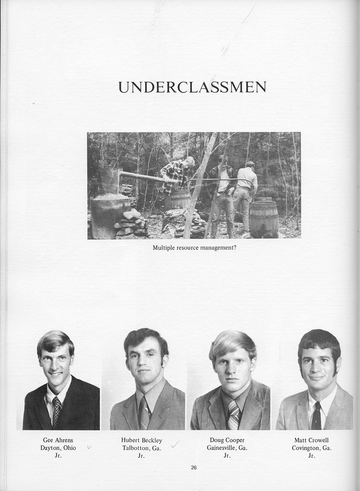 The Cypress Knee, 1971, Underclassmen, Gee Ahrens, Hubert Beckley, Doug Cooper, Matt Crowell, pg. 26