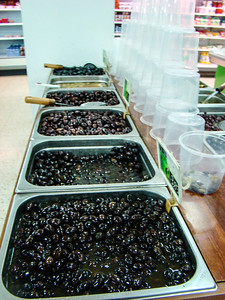 Black olives in the supermarket