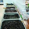 Black olives in the supermarket