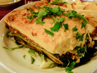 Moussaka - layered dish of aubergines lamb, and tomatoes