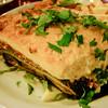 Moussaka - layered dish of aubergines lamb, and tomatoes