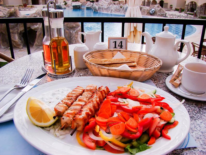Souvla - pork, chicken or lamb roasted on a spit