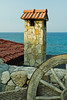 Picturesque chimney overlooking the Mediterranean Sea at the Jasmine Court Hotel in Girne, Cyprus.